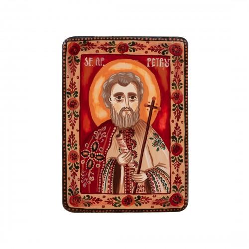 """Icoană pe lemn """"Sf. Apostol Petru"""", miniatură, 7x10 cm"""