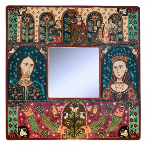 """Tablou pe lemn cu oglindă, """"Fata de împărat și Pescarul"""", 23x23 cm"""