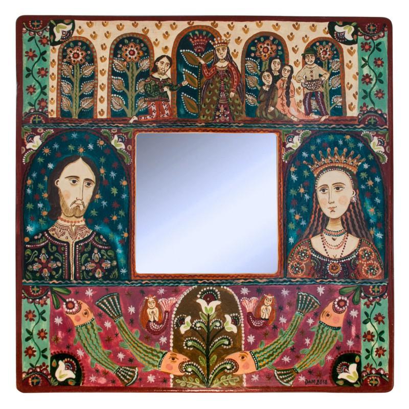 """Tablou cu oglindă, """"Fata de împărat și Pescarul"""", 25x25 cm"""