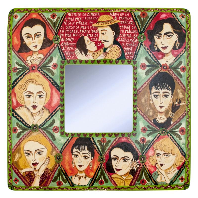 """Tablou pe lemn cu oglindă, """"Actrițe de cinema"""", 23x23 cm"""