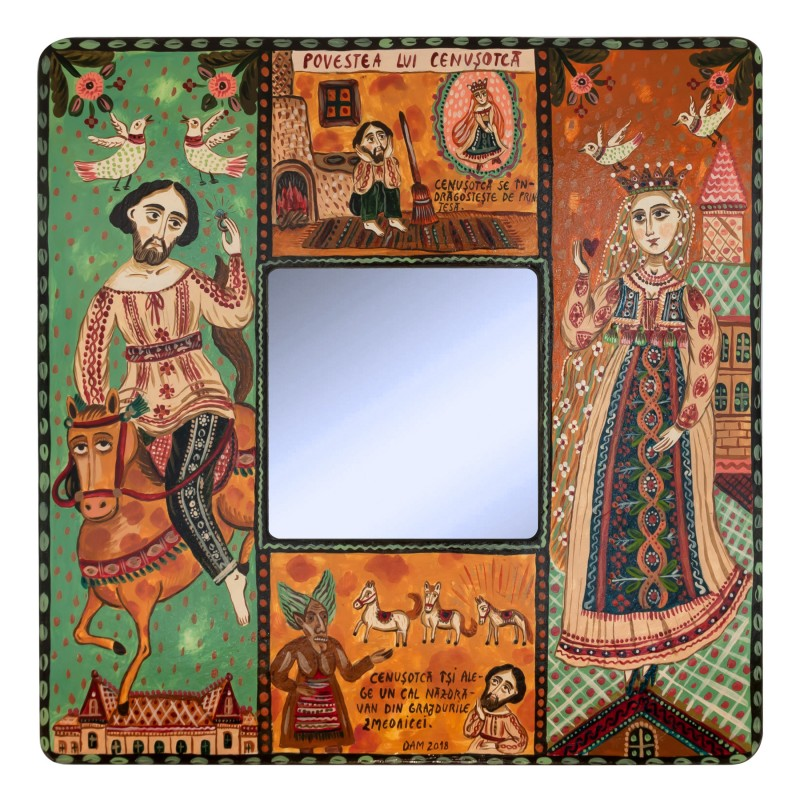 "Painting with mirror, ""Cenușotcă"", 25x25 cm"