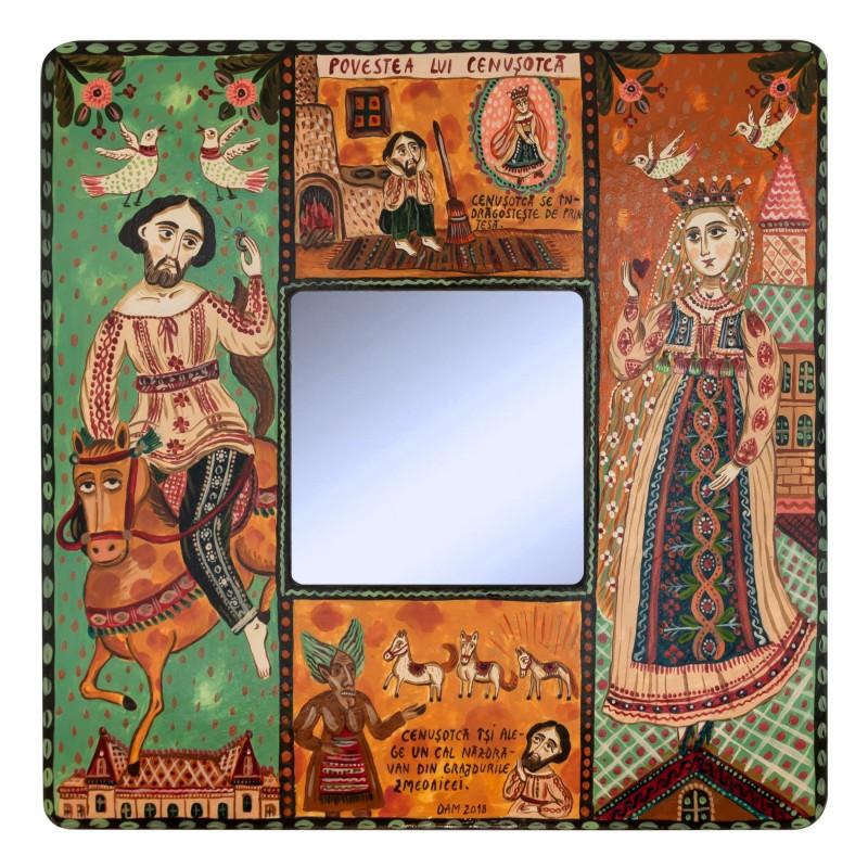 """Tablou pe lemn cu oglindă, """"Cenușotcă"""", 23x23 cm"""