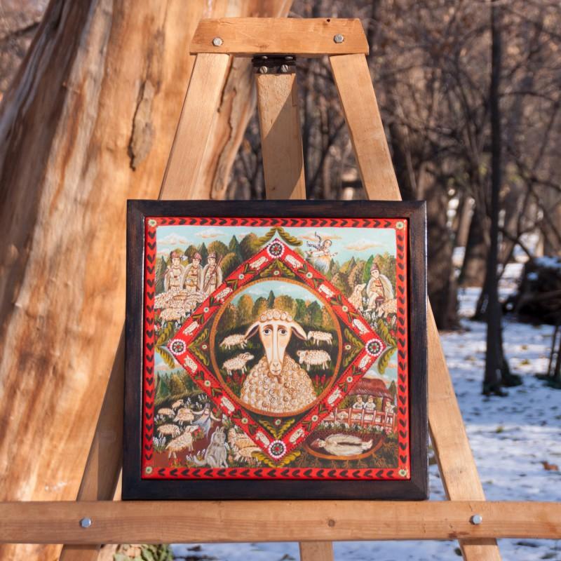 """Tablou pe pânză, """"Miorița"""", 30x30 cm, ramă lemn, pictat manual"""