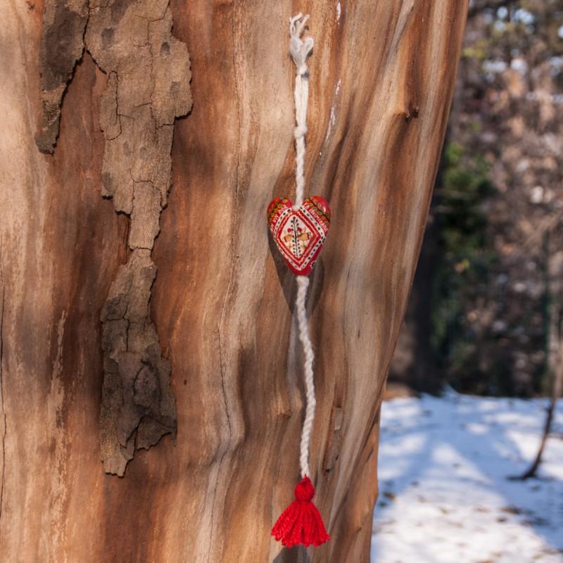 "Heart figurine with tassel, model 2, ""Yearning in my heart"", 4.5x5.5 cm"