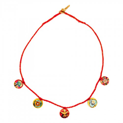 Painted coin necklace,...
