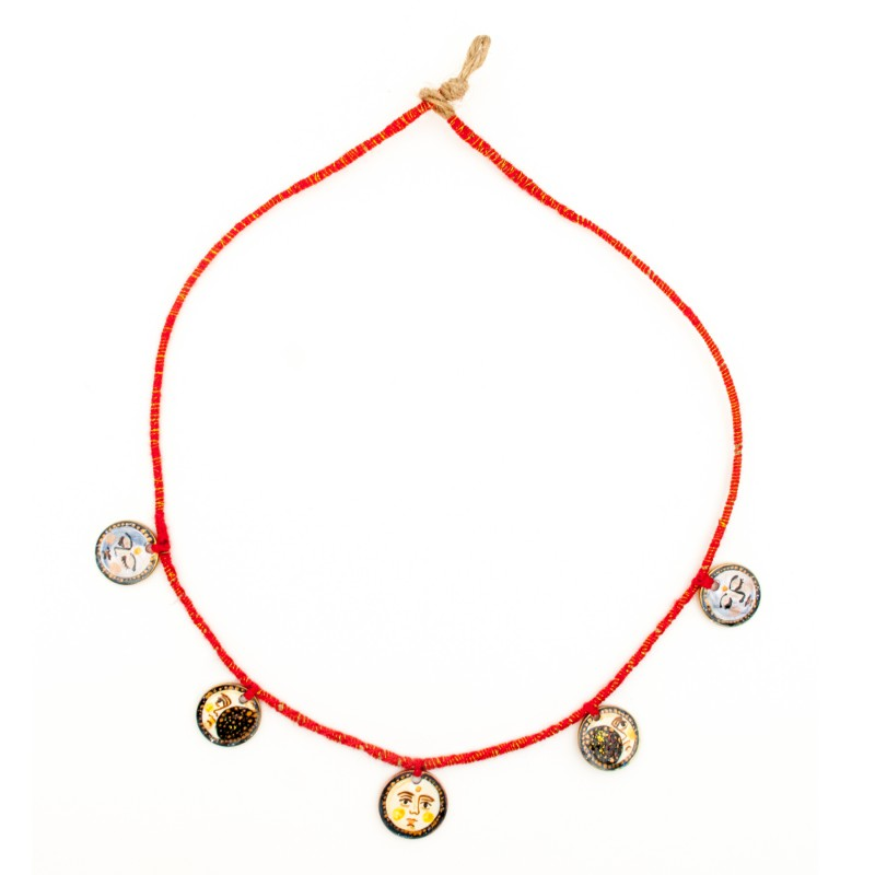 """Painted coin necklace, model 2, """"Moon phases"""""""