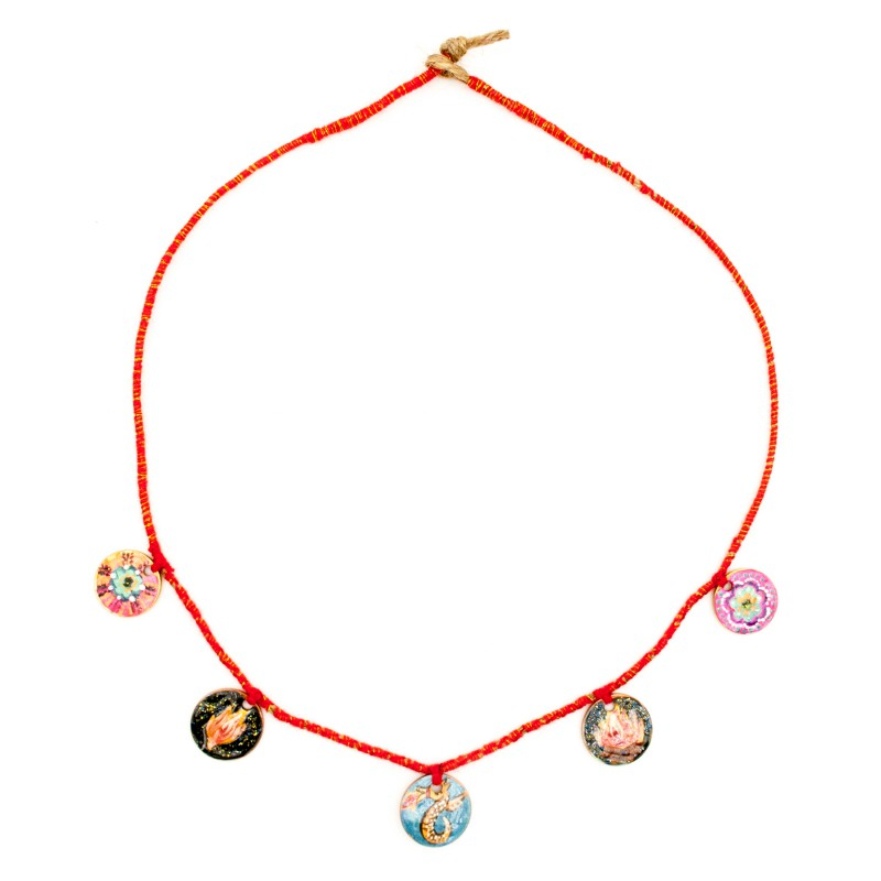 """Painted coin necklace, model 7, """"Sacred fire"""""""
