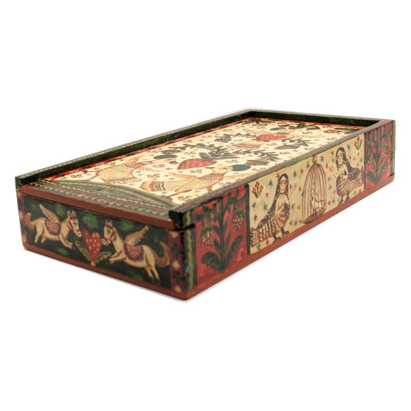 """Cutie de lemn pictată manual, """"Turturele"""",  13x23.5x4.5 cm"""