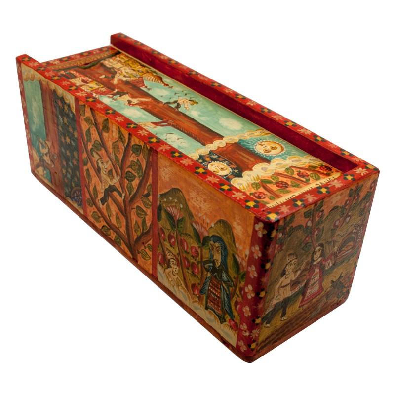 """Cutie de lemn pictată manual, """"Pomul fără căpătâi"""",  7.5x22x8.5 cm"""