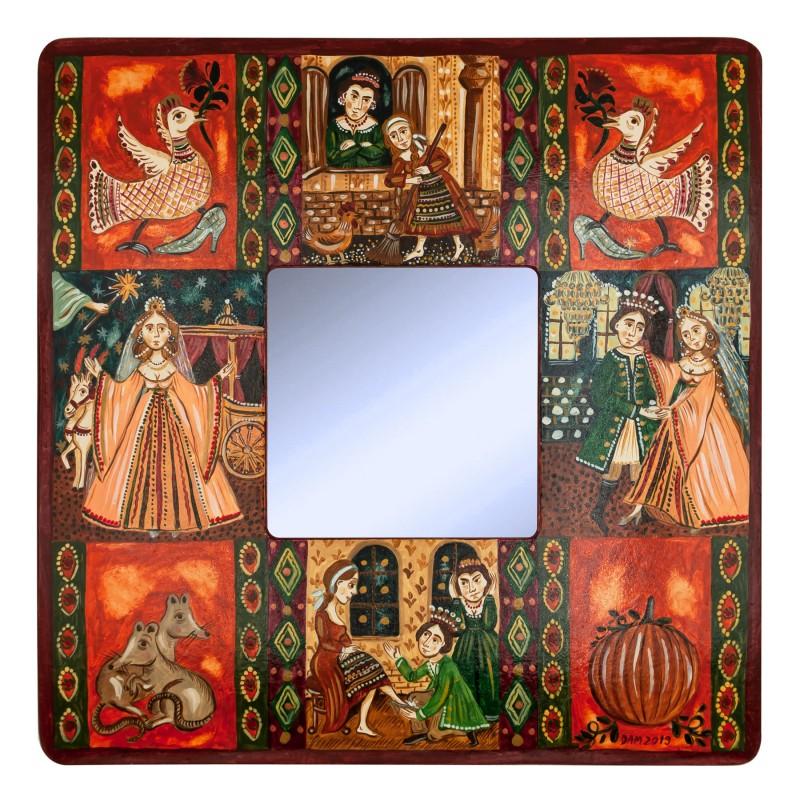 """Tablou pe lemn cu oglindă, """"Cenușăreasa"""", 23x23 cm"""