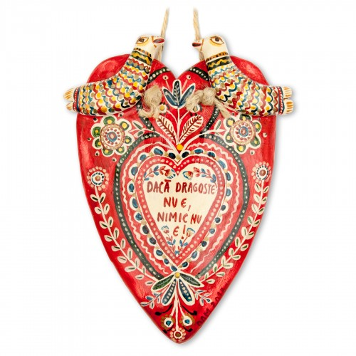 "Modeling clay flat heart figurine, ""If love is gone, all is lost"", 10x13,5 cm"