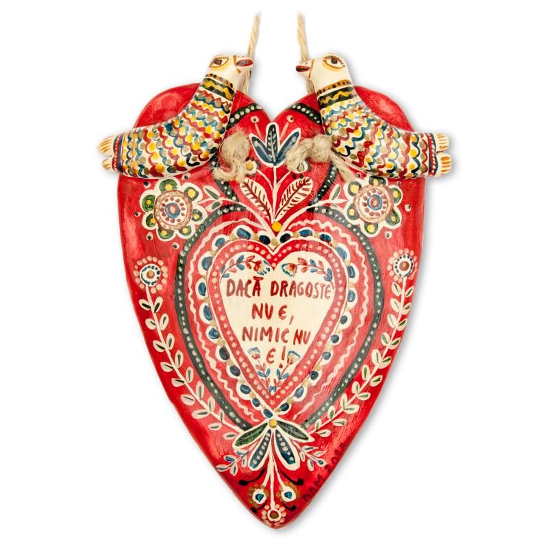 """Inimioară plată din lut modelaj, """"Dacă dragoste nu e, nimic nu e"""", 10x13,5 cm"""