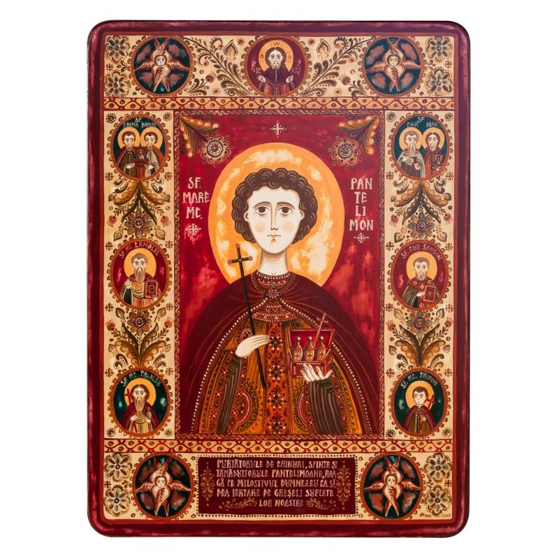 """Icoană pe lemn, """"Sfântul Pantelimon"""", 30x40 cm"""