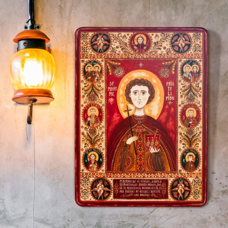 """Wood icon, """"Saint Pantelimon"""", 30x40 cm"""