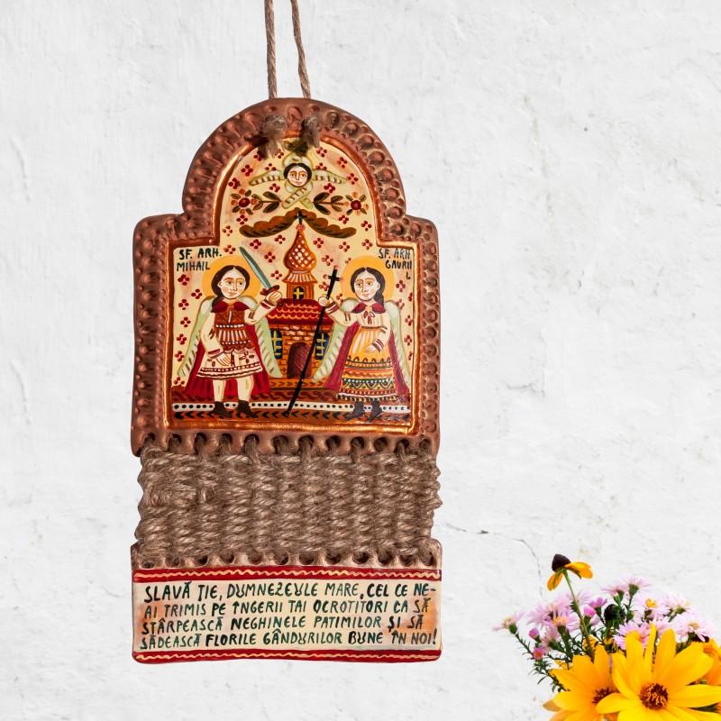 """Troiță din lut modelaj, """"Sf. Arh. Mihail și Gavriil"""", împletitură sfoară, 2 piese, 9x17 cm"""