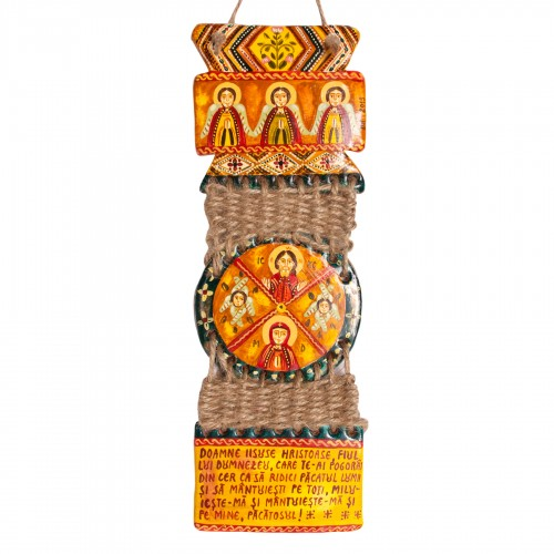 "Modeling clay troitsa, ""Jesus Christ and Virgin Mary"", threaded twine, 7x23 cm"