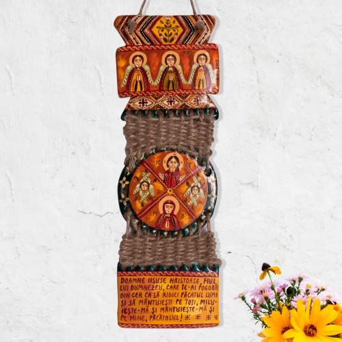 """Troiță din lut modelaj, """"Iisus Hristos și Maica Domnului"""", împletitură sfoară, 3 piese, 7x23 cm"""