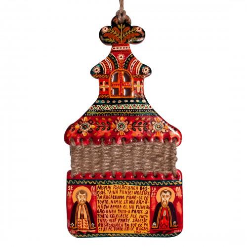 """Troiță din lut modelaj, """"Sf. Ap. Petru și Pavel"""", împletitură sfoară, 10x20 cm"""
