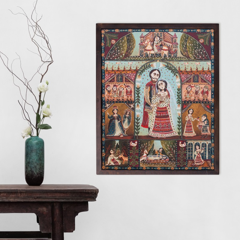 """Canvas painting, """"Snow White"""", 40x50 cm, wooden frame"""