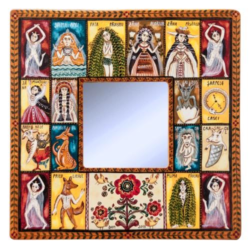 """Tablou pe lemn cu oglindă, """"Ființe năzdrăvane"""", 23x23 cm"""
