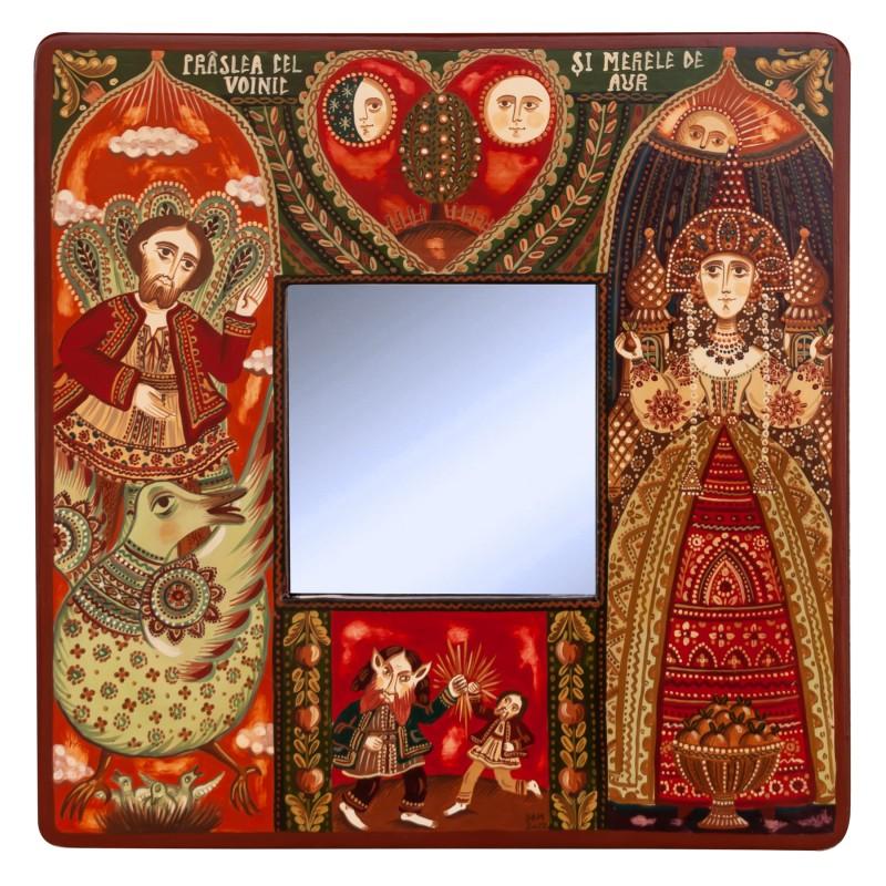 """Tablou pe lemn cu oglindă, """"Prâslea cel Voinic și merele de aur"""", 23x23 cm"""