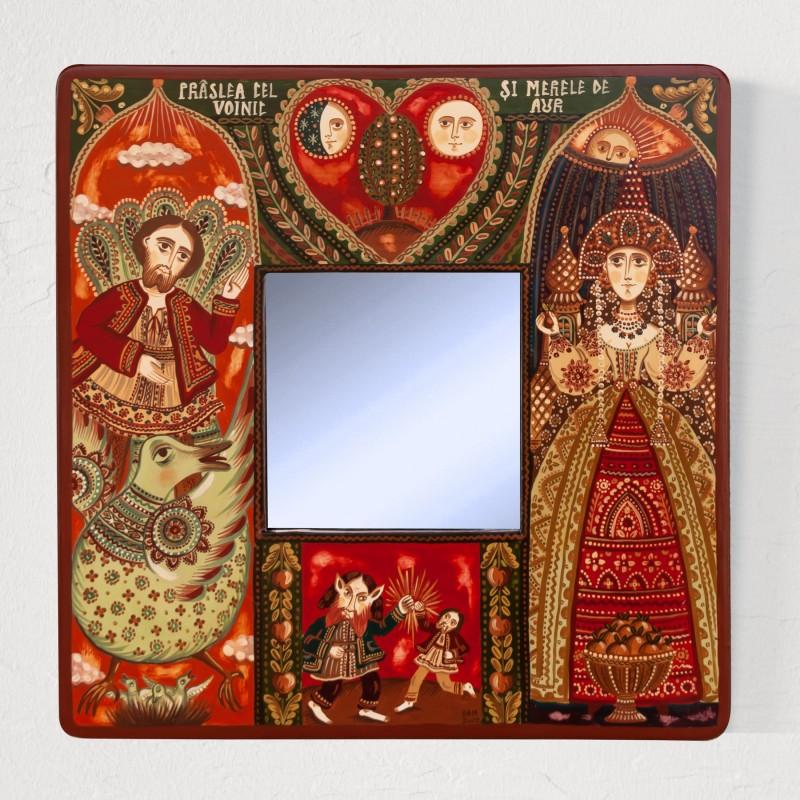 """Tablou cu oglindă, """"Prâslea cel Voinic și merele de aur"""", 25x25 cm"""