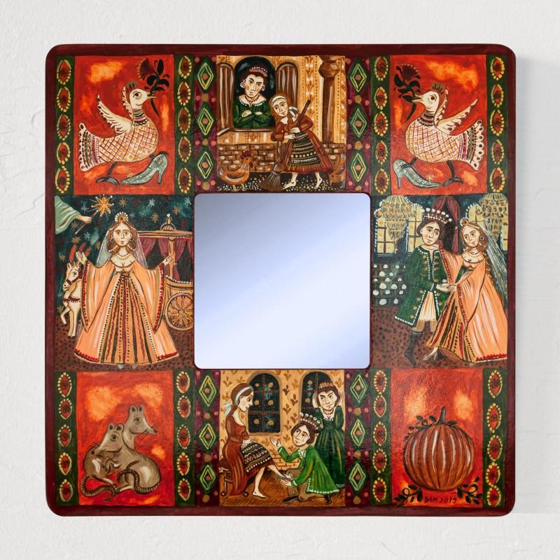 "Painting with mirror, ""Cinderella"", 25x25 cm"