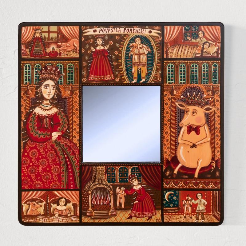 """Tablou cu oglindă, """"Povestea porcului"""", 25x25 cm"""