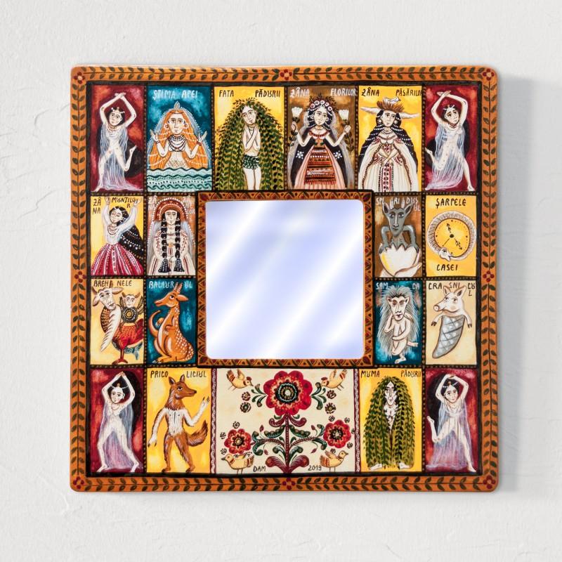 """Tablou cu oglindă, """"Ființe năzdrăvane"""", 25x25 cm"""