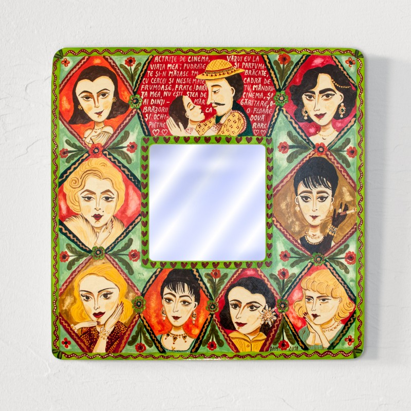 """Painting on wood with mirror, """"Movie Stars"""", 23x23 cm"""