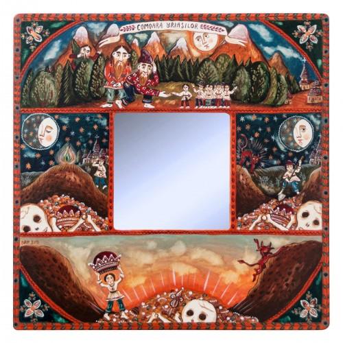 """Tablou pe lemn cu oglindă, """"Comoara Uriașilor"""", 23x23 cm"""
