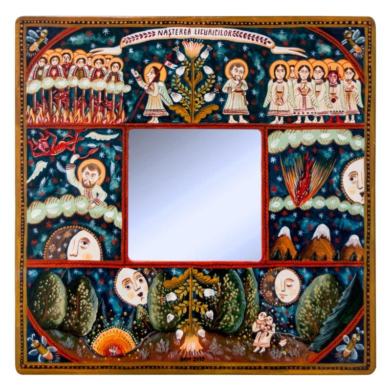 """Tablou pe lemn cu oglindă, """"Nașterea Licuricilor"""", 23x23 cm"""