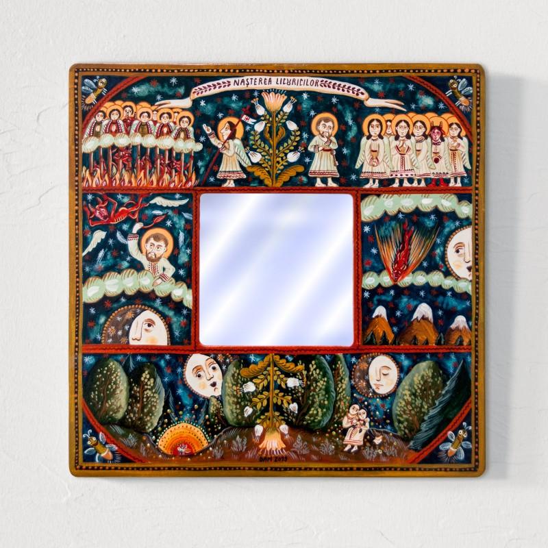"""Tablou cu oglindă, """"Nașterea Licuricilor"""", 25x25 cm"""