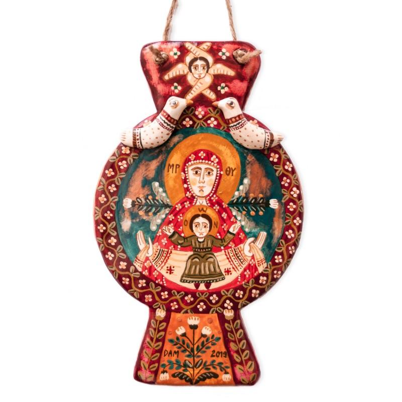 "Modeling clay troitsa, ""Virgin Mary and Baby Jesus"", 14,5x9 cm"