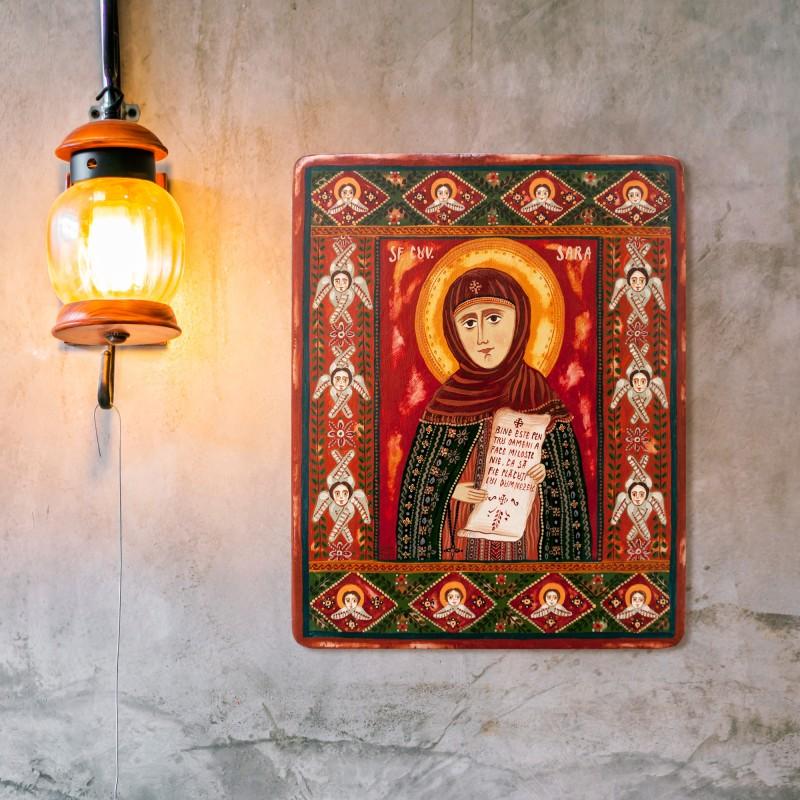 "Wood icon, ""Saint Sarah"""