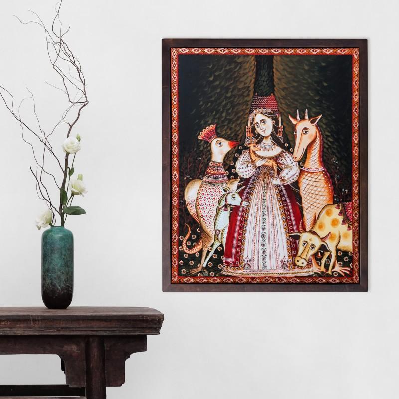 """Tablou pe pânză, """"Împărăteasa fiarelor"""", 40x50 cm, ramă lemn, pictat manual"""