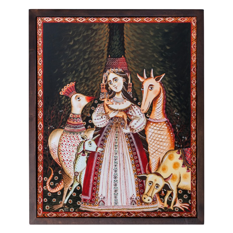 """Canvas painting, """"Mistress of the beasts"""", 40x50 cm, wooden frame"""