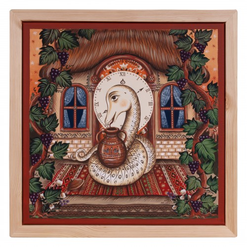 "Canvas painting, ""The Home Serpent"", 40x40 cm, wooden frame"