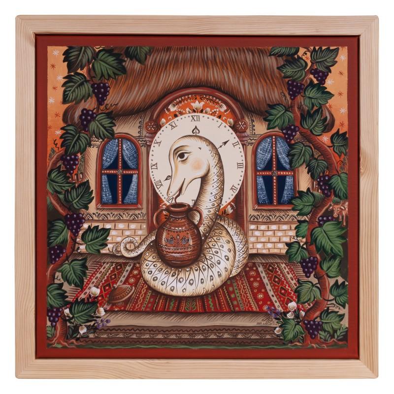 """Tablou pe pânză, """"Șarpele Casei"""", 40x40 cm, ramă lemn, pictat manual"""
