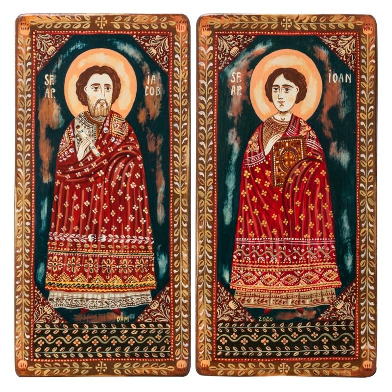 "Icoană pe lemn tip diptic ""Sf. Ap. Iacob și Sf. Ap. Ioan"", 2 x 10x20cm"