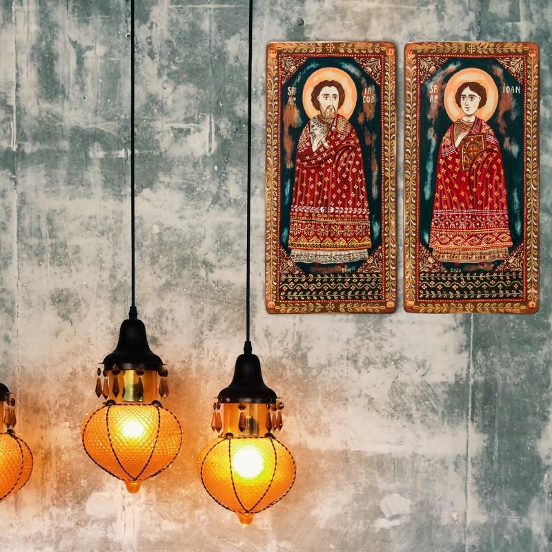 "Wood icon, diptych, ""Saint Jacob and Saint John"", 2 x 10x20 cm"