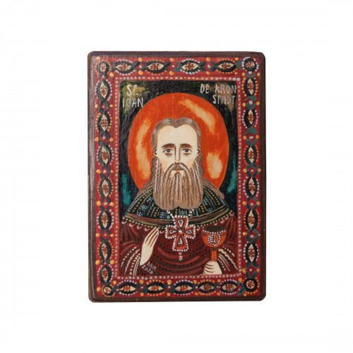 "Wood icon, ""Saint John of Kronstadt"", miniature, 7x10cm"