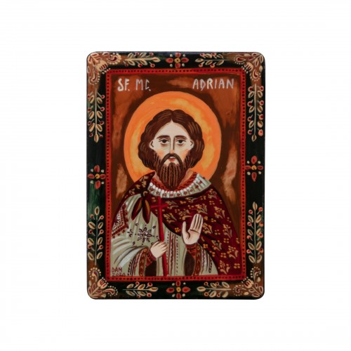 """Icoană pe lemn """"Sf. Mc. Adrian"""", miniatură, 7x10 cm"""