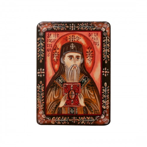 "Wood icon, ""Saint Joseph of Partos"", miniature, 7x10cm"