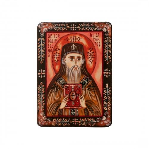 "Wood icon, ""Saint Joseph of Partos"", miniature, 7x10cm"