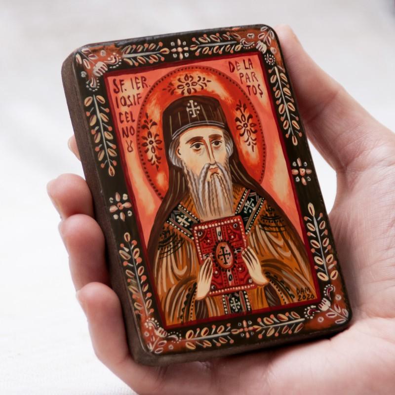 """Icoană pe lemn """"Sfântul Iosif cel Nou de la Partoș"""", miniatură, 7x10 cm"""