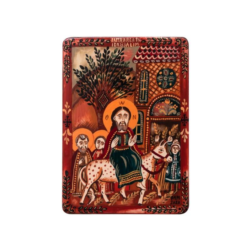 """Icoană pe lemn """"Intrarea Domnului în Ierusalim"""", miniatură, 7x10 cm"""