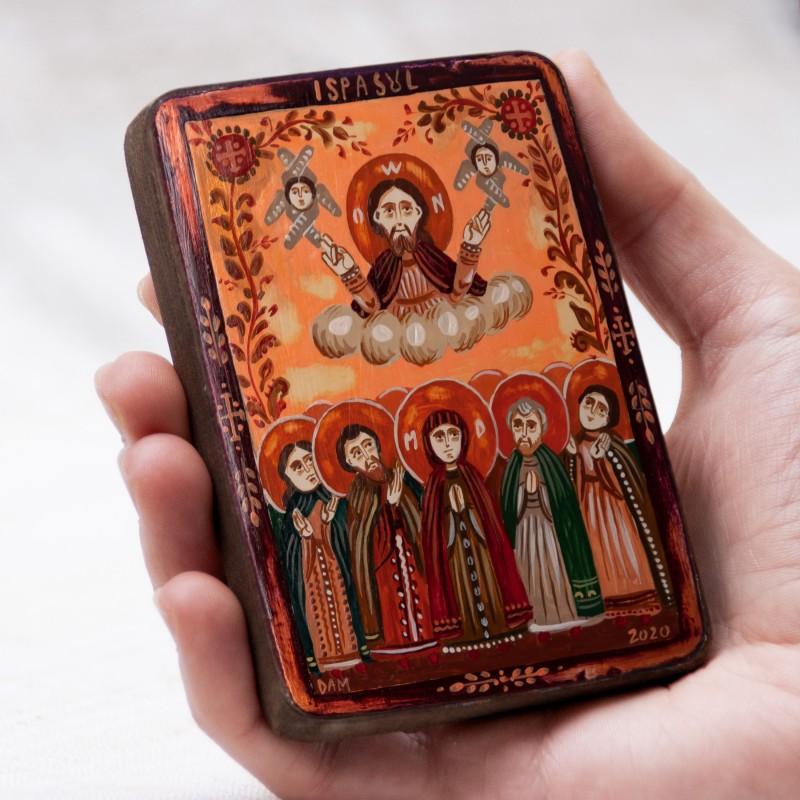 """Icoană pe lemn """"Ispasul: Înălțarea Domnului"""", miniatură, 7x10 cm"""