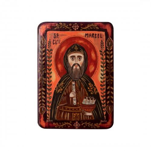 """Icoană pe lemn """"Sfântul Marcel"""", miniatură, 7x10 cm"""