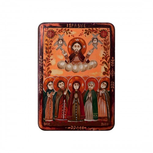 "Wood icon, ""Feast of the Ascension"", miniature, 7x10cm"